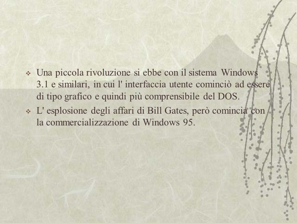  Una piccola rivoluzione si ebbe con il sistema Windows 3.1 e similari, in cui l interfaccia utente cominciò ad essere di tipo grafico e quindi più comprensibile del DOS.