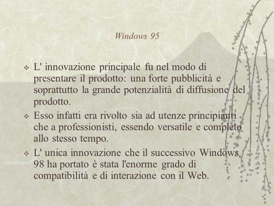Windows 95  L innovazione principale fu nel modo di presentare il prodotto: una forte pubblicità e soprattutto la grande potenzialità di diffusione del prodotto.