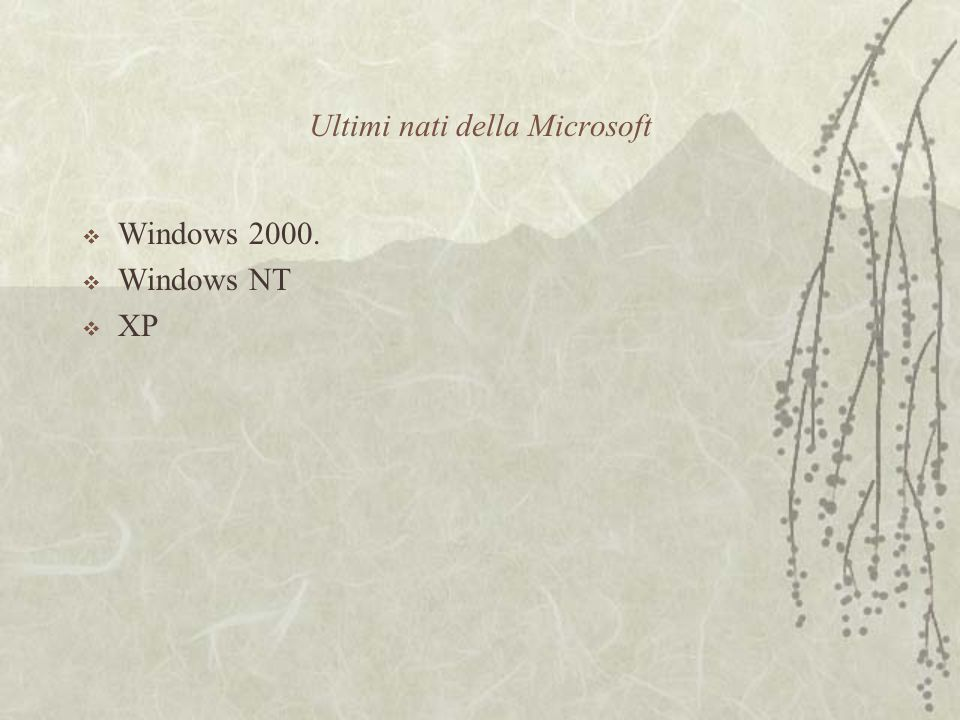 Ultimi nati della Microsoft  Windows 2000.  Windows NT  XP