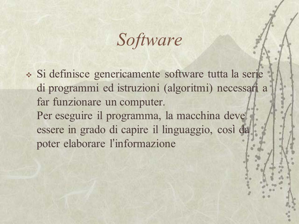 Software  Si definisce genericamente software tutta la serie di programmi ed istruzioni (algoritmi) necessari a far funzionare un computer.