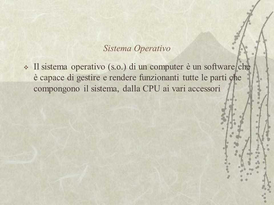 Sistema Operativo  Il sistema operativo (s.o.) di un computer è un software che è capace di gestire e rendere funzionanti tutte le parti che compongono il sistema, dalla CPU ai vari accessori
