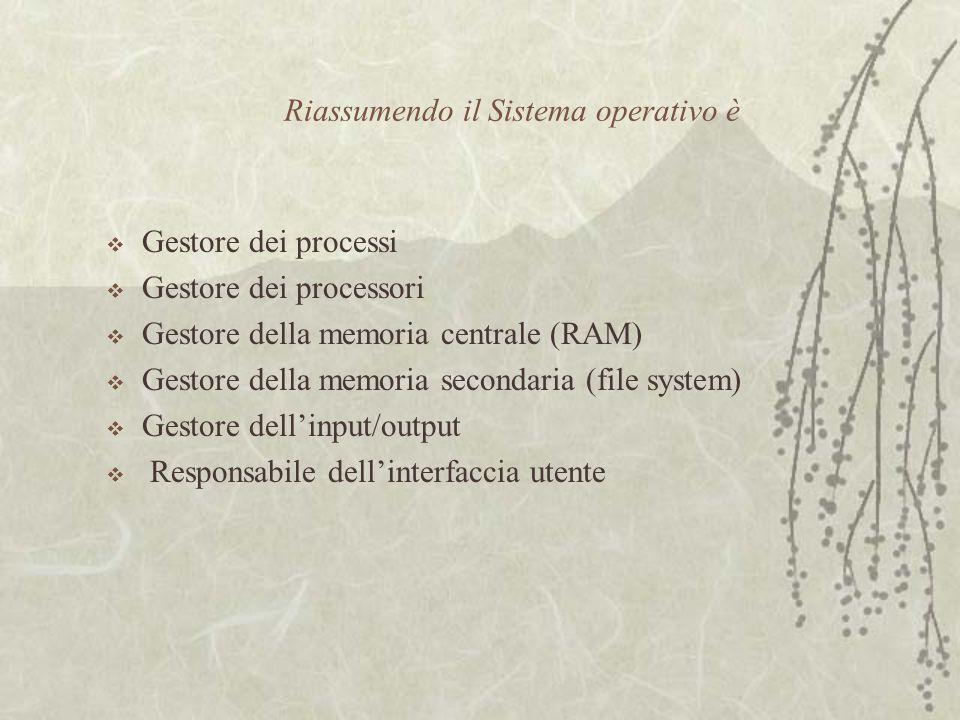 Riassumendo il Sistema operativo è  Gestore dei processi  Gestore dei processori  Gestore della memoria centrale (RAM)  Gestore della memoria secondaria (file system)  Gestore dell'input/output  Responsabile dell'interfaccia utente
