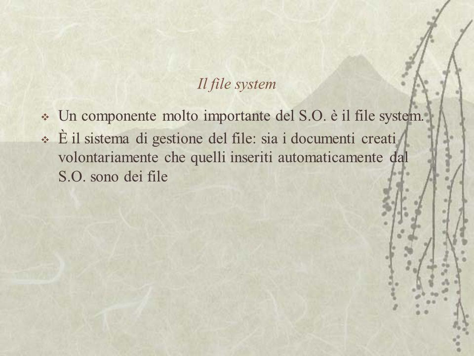 Il file system  Un componente molto importante del S.O.
