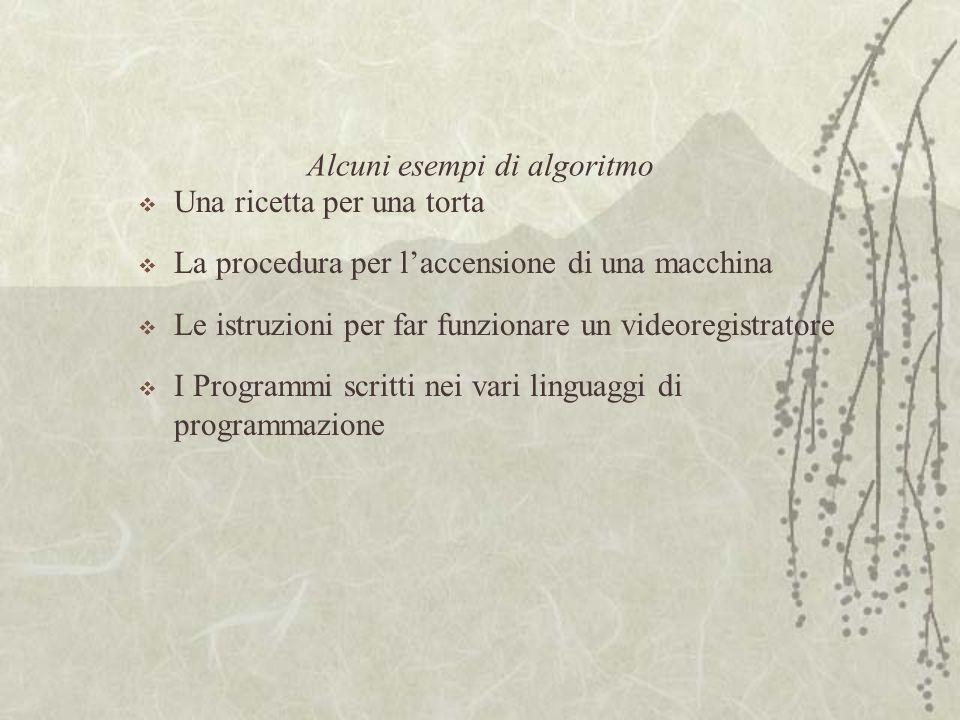 Alcuni esempi di algoritmo  Una ricetta per una torta  La procedura per l'accensione di una macchina  Le istruzioni per far funzionare un videoregistratore  I Programmi scritti nei vari linguaggi di programmazione
