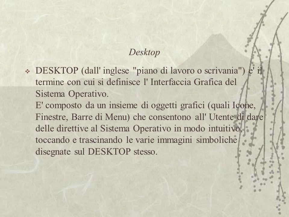 Desktop  DESKTOP (dall inglese piano di lavoro o scrivania ) e il termine con cui si definisce l Interfaccia Grafica del Sistema Operativo.