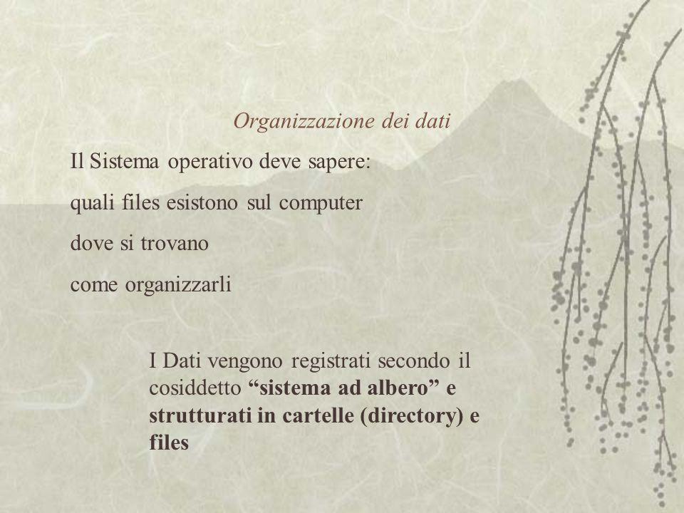 Organizzazione dei dati I Dati vengono registrati secondo il cosiddetto sistema ad albero e strutturati in cartelle (directory) e files Il Sistema operativo deve sapere: quali files esistono sul computer dove si trovano come organizzarli