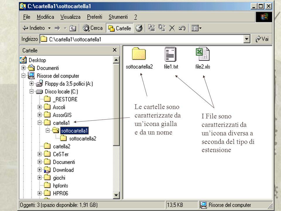 Le cartelle sono caratterizzate da un'icona gialla e da un nome I File sono caratterizzati da un'icona diversa a seconda del tipo di estensione