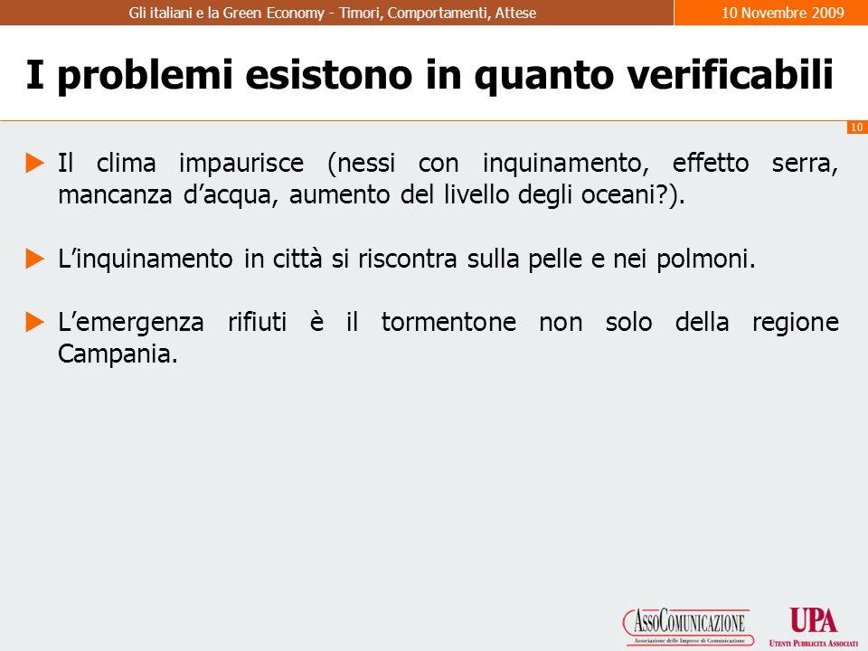 10 Gli italiani e la Green Economy - Timori, Comportamenti, Attese10 Novembre 2009 I problemi esistono in quanto verificabili  Il clima impaurisce (nessi con inquinamento, effetto serra, mancanza d'acqua, aumento del livello degli oceani ).
