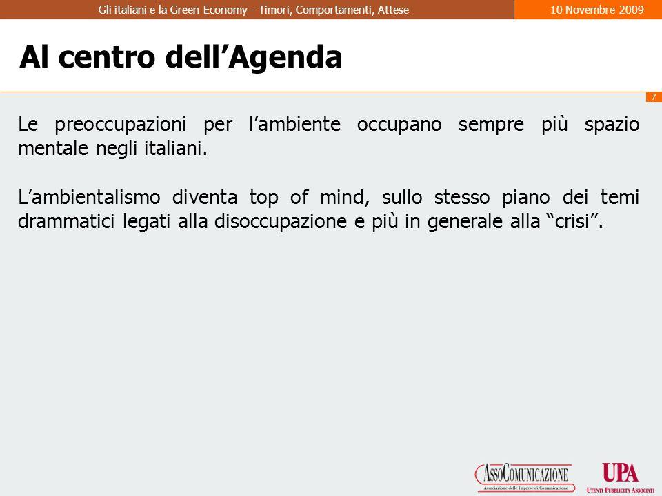 7 Gli italiani e la Green Economy - Timori, Comportamenti, Attese10 Novembre 2009 Al centro dell'Agenda Le preoccupazioni per l'ambiente occupano sempre più spazio mentale negli italiani.