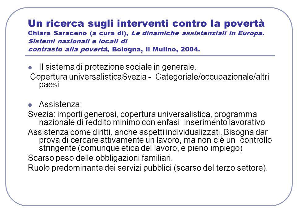 Un ricerca sugli interventi contro la povertà Chiara Saraceno (a cura di), Le dinamiche assistenziali in Europa. Sistemi nazionali e locali di contras
