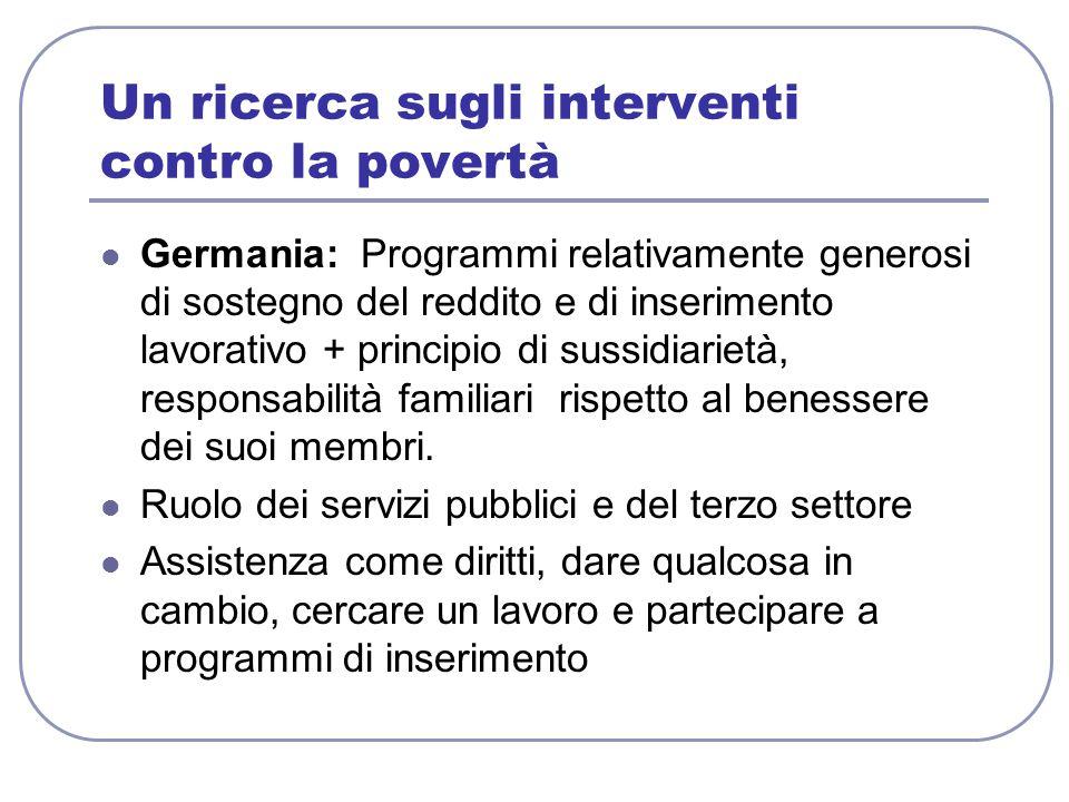 Un ricerca sugli interventi contro la povertà Germania: Programmi relativamente generosi di sostegno del reddito e di inserimento lavorativo + principio di sussidiarietà, responsabilità familiari rispetto al benessere dei suoi membri.