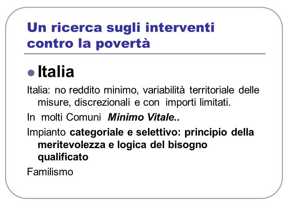 Un ricerca sugli interventi contro la povertà Italia Italia: no reddito minimo, variabilità territoriale delle misure, discrezionali e con importi limitati.
