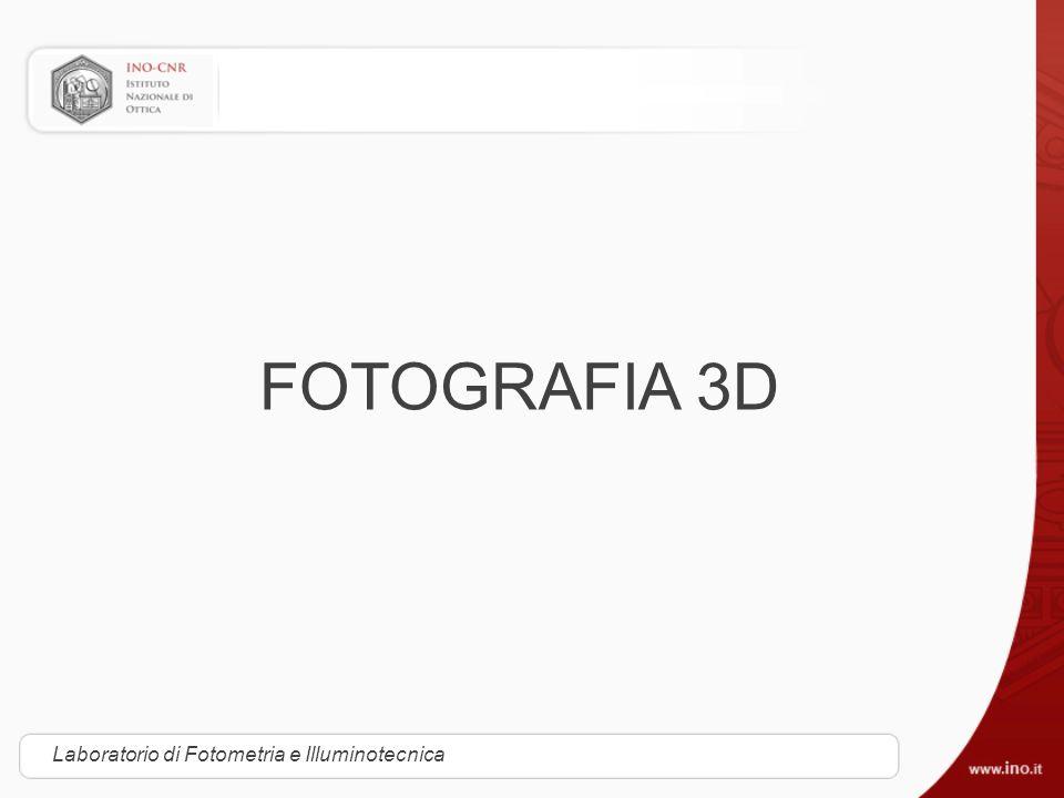 Tecniche del cinema 3D Laboratorio Fotometria e Illuminotecnica Teleview Inventato da Laurence Hammond, 1922 Proiezione di fotogrammi alternati: con due proiettori, si proietta alternativamente l immagine destinata all occhio destro a quella destinata all occhio sinistro.