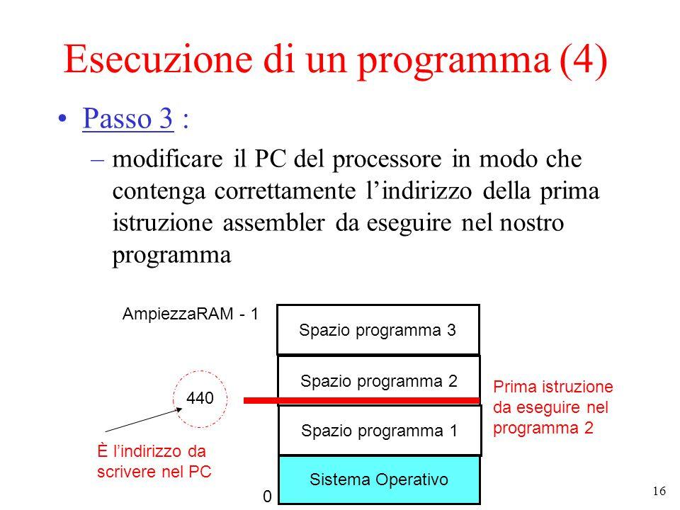 16 Esecuzione di un programma (4) Passo 3 : –modificare il PC del processore in modo che contenga correttamente l'indirizzo della prima istruzione assembler da eseguire nel nostro programma Sistema Operativo Spazio programma 1 0 AmpiezzaRAM - 1 Spazio programma 2 Spazio programma 3 440 Prima istruzione da eseguire nel programma 2 È l'indirizzo da scrivere nel PC