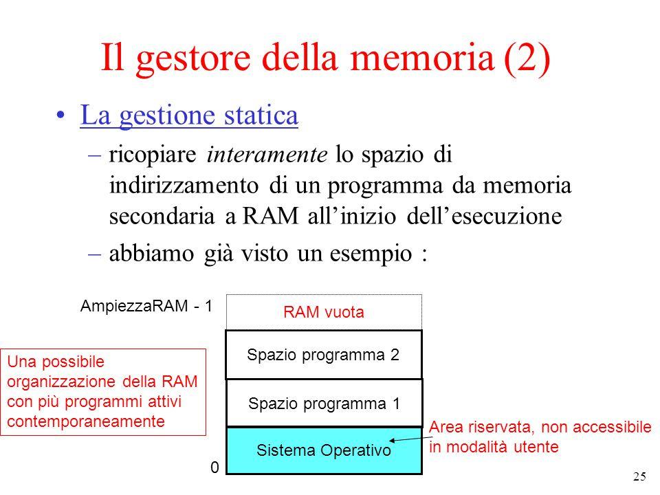 25 Il gestore della memoria (2) La gestione statica –ricopiare interamente lo spazio di indirizzamento di un programma da memoria secondaria a RAM all'inizio dell'esecuzione –abbiamo già visto un esempio : Sistema Operativo Spazio programma 1 Area riservata, non accessibile in modalità utente Una possibile organizzazione della RAM con più programmi attivi contemporaneamente 0 AmpiezzaRAM - 1 Spazio programma 2 RAM vuota