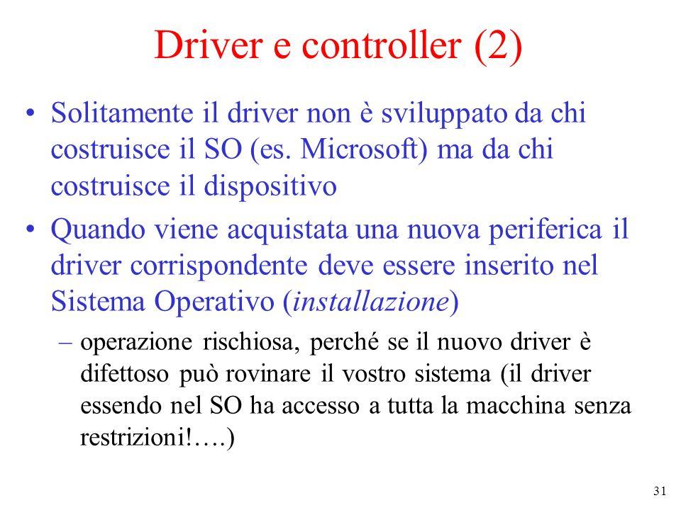 31 Driver e controller (2) Solitamente il driver non è sviluppato da chi costruisce il SO (es.