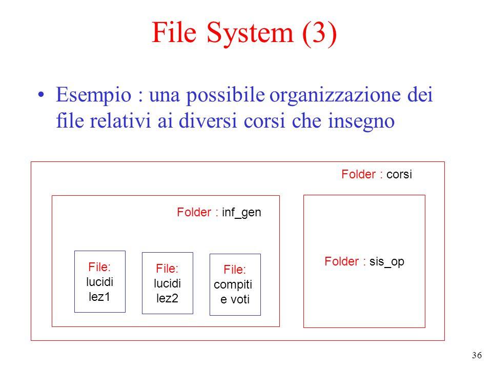 36 File System (3) Esempio : una possibile organizzazione dei file relativi ai diversi corsi che insegno File: lucidi lez1 File: lucidi lez2 File: compiti e voti Folder : inf_gen Folder : sis_op Folder : corsi