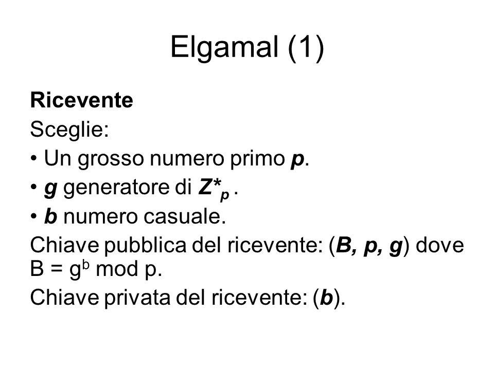 Elgamal (1) Ricevente Sceglie: Un grosso numero primo p.