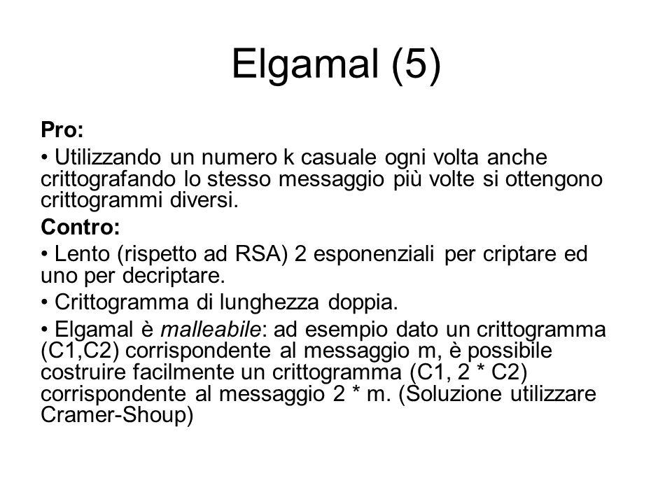 Elgamal (5) Pro: Utilizzando un numero k casuale ogni volta anche crittografando lo stesso messaggio più volte si ottengono crittogrammi diversi.