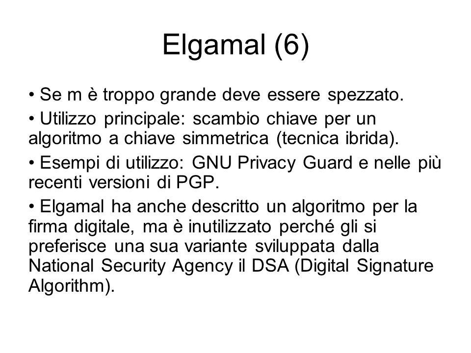 Elgamal (6) Se m è troppo grande deve essere spezzato.