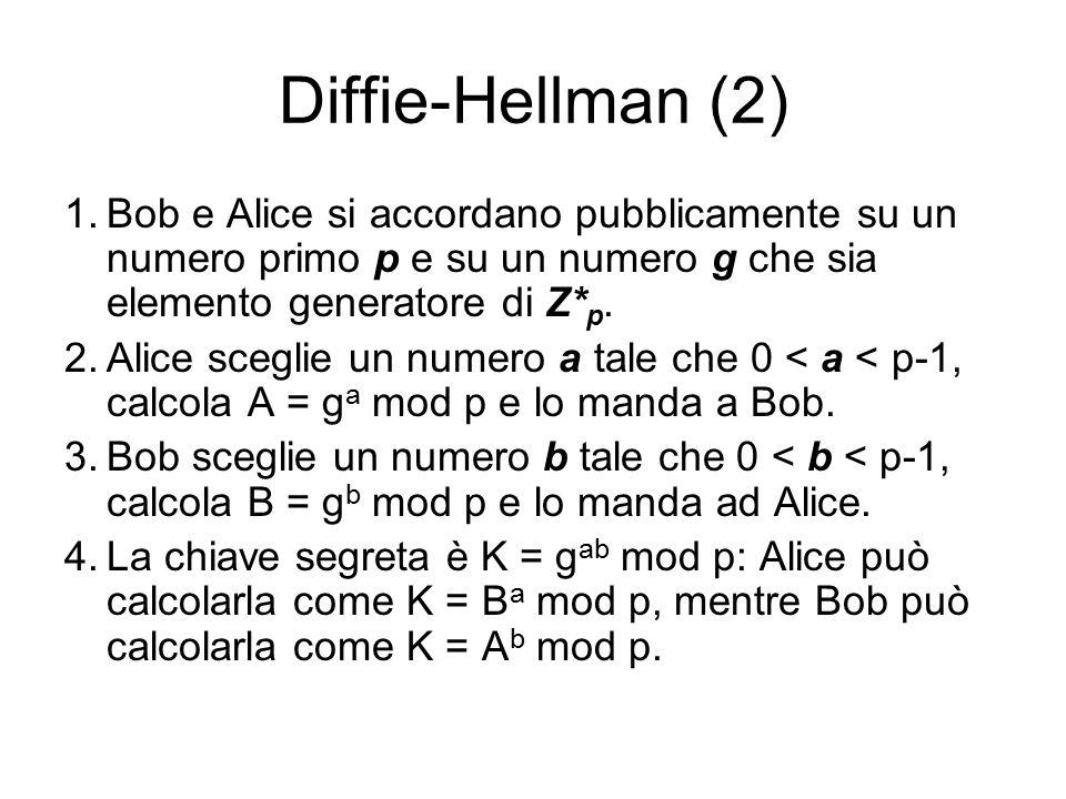 Diffie-Hellman (2) 1.Bob e Alice si accordano pubblicamente su un numero primo p e su un numero g che sia elemento generatore di Z* p.