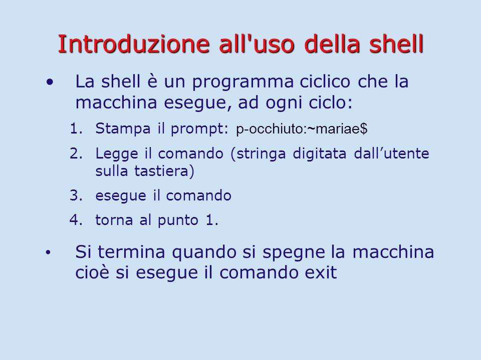 Introduzione all uso della shell La shell è un programma ciclico che la macchina esegue, ad ogni ciclo: 1.