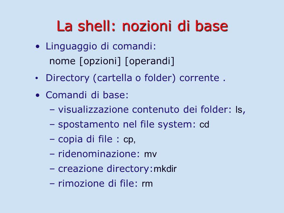 La shell: nozioni di base Linguaggio di comandi: nome [opzioni] [operandi] Directory (cartella o folder) corrente.