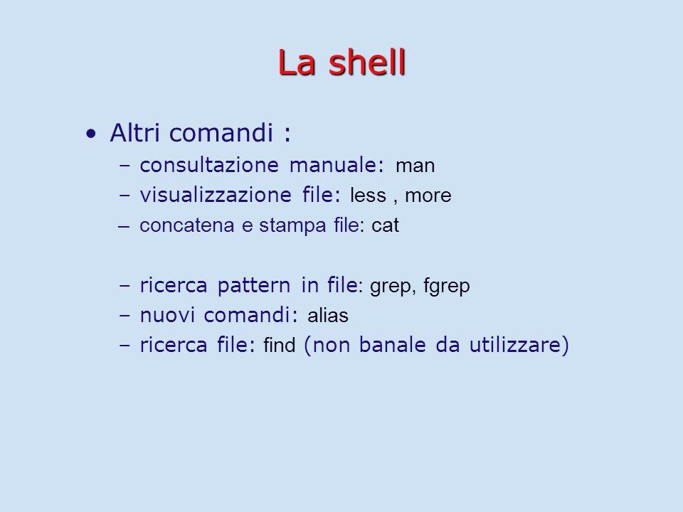 La shell Altri comandi : – –consultazione manuale: man – –visualizzazione file: less, more – –concatena e stampa file: cat – –ricerca pattern in file : grep, fgrep – –nuovi comandi: alias – –ricerca file: find (non banale da utilizzare)