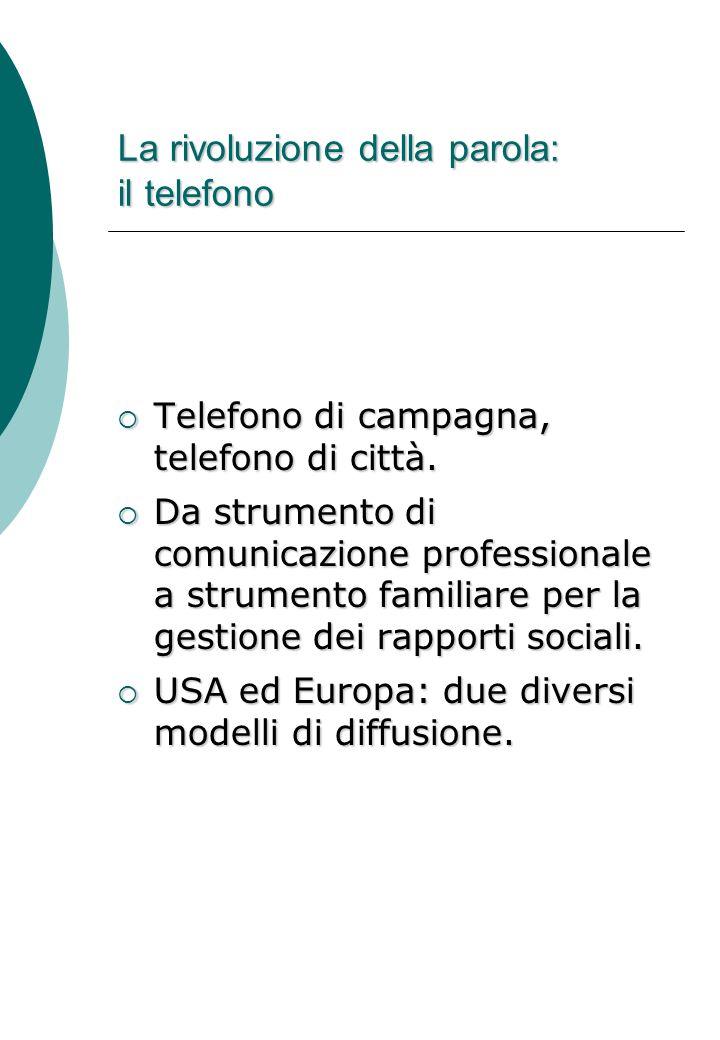 La rivoluzione della parola: il telefono  Telefono di campagna, telefono di città.