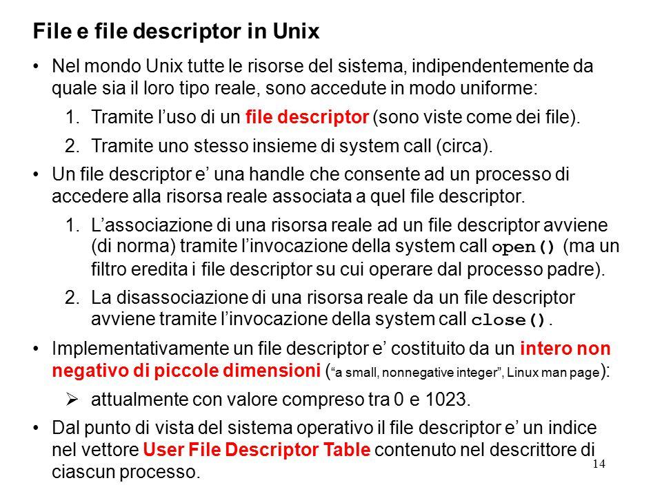 14 File e file descriptor in Unix Nel mondo Unix tutte le risorse del sistema, indipendentemente da quale sia il loro tipo reale, sono accedute in modo uniforme: 1.Tramite l'uso di un file descriptor (sono viste come dei file).