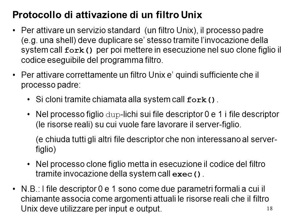 18 Protocollo di attivazione di un filtro Unix Per attivare un servizio standard (un filtro Unix), il processo padre (e.g. una shell) deve duplicare s
