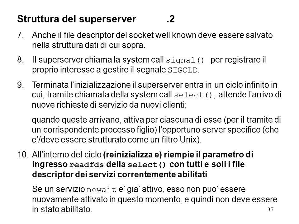 37 Struttura del superserver.2 7.Anche il file descriptor del socket well known deve essere salvato nella struttura dati di cui sopra. 8.Il superserve