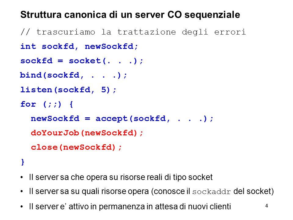 44 Struttura canonica di un server CO sequenziale // trascuriamo la trattazione degli errori int sockfd, newSockfd; sockfd = socket(...); bind(sockfd,...); listen(sockfd, 5); for (;;) { newSockfd = accept(sockfd,...); doYourJob(newSockfd); close(newSockfd); } Il server sa che opera su risorse reali di tipo socket Il server sa su quali risorse opera (conosce il sockaddr del socket) Il server e' attivo in permanenza in attesa di nuovi clienti