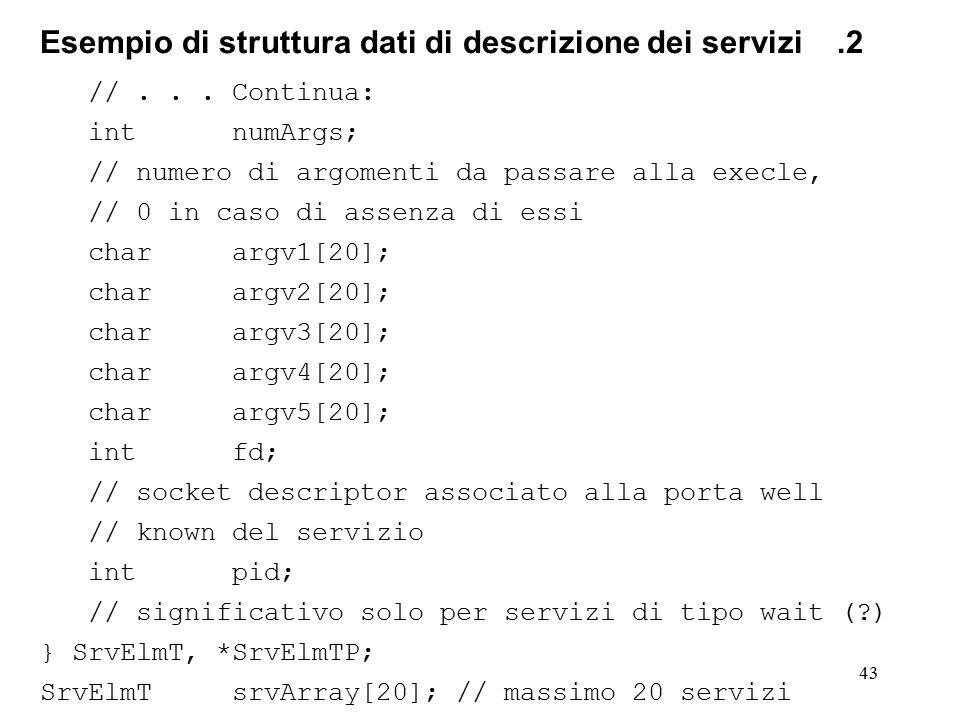 43 Esempio di struttura dati di descrizione dei servizi.2 //... Continua: intnumArgs; // numero di argomenti da passare alla execle, // 0 in caso di a