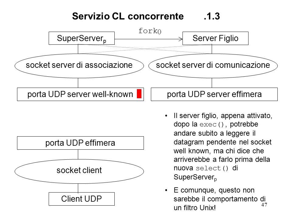 47 Servizio CL concorrente.1.3 SuperServer p socket server di associazione porta UDP server well-knownClient UDP socket client porta UDP effimeraServer Figlio socket server di comunicazione porta UDP server effimera fork () Il server figlio, appena attivato, dopo la exec(), potrebbe andare subito a leggere il datagram pendente nel socket well known, ma chi dice che arriverebbe a farlo prima della nuova select() di SuperServer p E comunque, questo non sarebbe il comportamento di un filtro Unix!