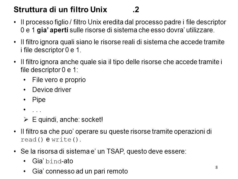 8 Struttura di un filtro Unix.2 Il processo figlio / filtro Unix eredita dal processo padre i file descriptor 0 e 1 gia' aperti sulle risorse di sistema che esso dovra' utilizzare.