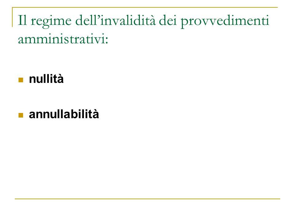 Il regime dell'invalidità dei provvedimenti amministrativi: nullità annullabilità