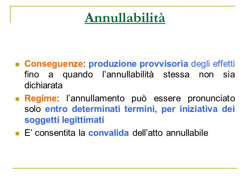 Annullabilità Conseguenze: produzione provvisoria degli effetti fino a quando l'annullabilità stessa non sia dichiarata Regime: l'annullamento può ess