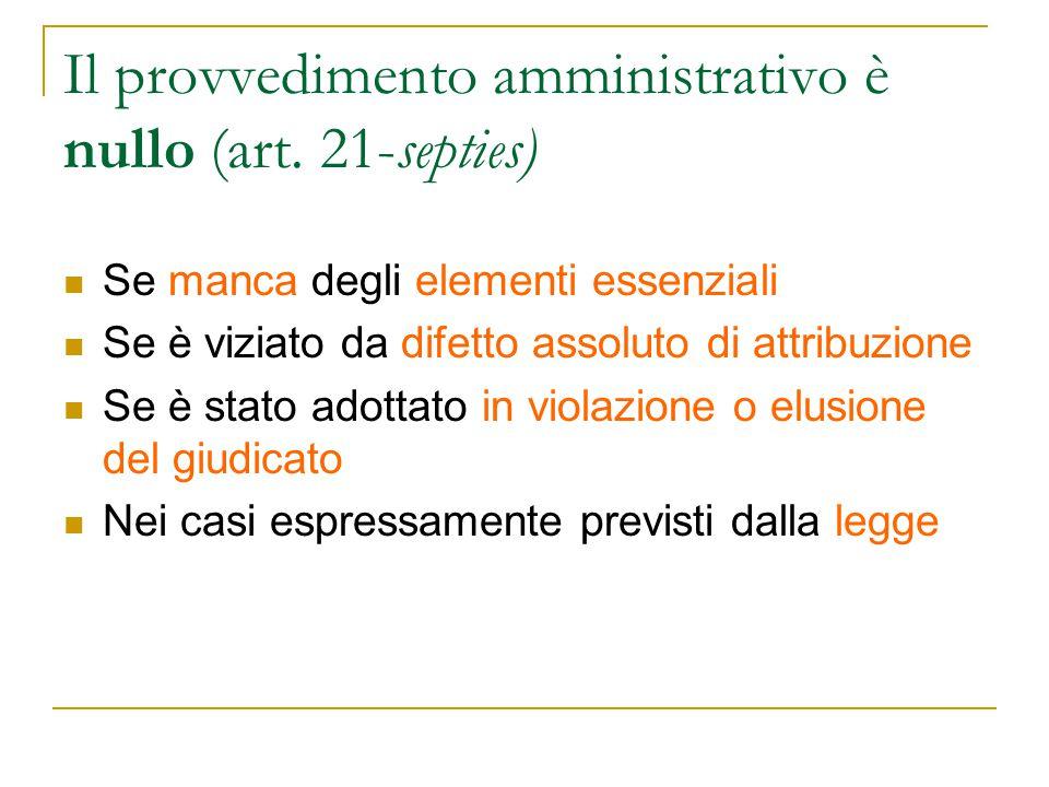 Il provvedimento amministrativo è nullo (art. 21-septies) Se manca degli elementi essenziali Se è viziato da difetto assoluto di attribuzione Se è sta