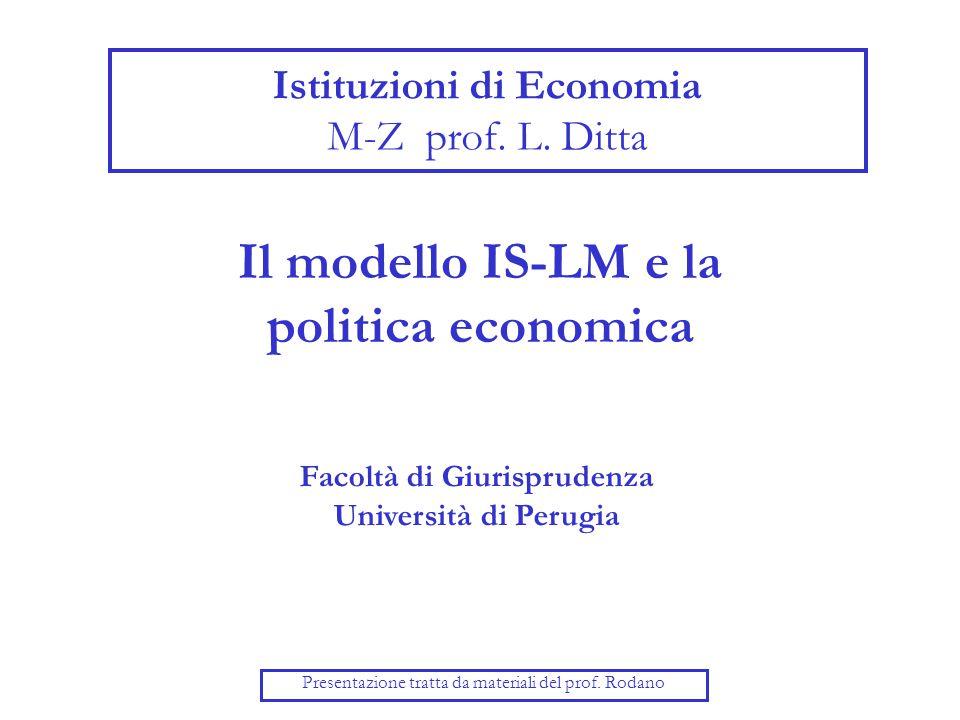 Il modello IS-LM e la politica economica Presentazione tratta da materiali del prof.