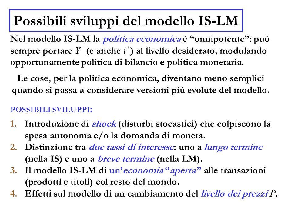 Possibili sviluppi del modello IS-LM Nel modello IS-LM la politica economica è onnipotente : può sempre portare Y * (e anche i * ) al livello desiderato, modulando opportunamente politica di bilancio e politica monetaria.