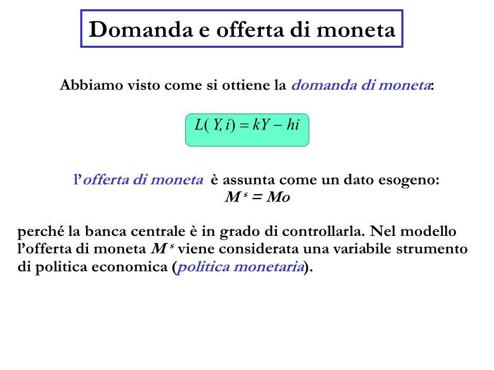 Domanda e offerta di moneta Abbiamo visto come si ottiene la domanda di moneta: l'offerta di moneta è assunta come un dato esogeno: M s = Mo L( Y, i)  kY  hi perché la banca centrale è in grado di controllarla.