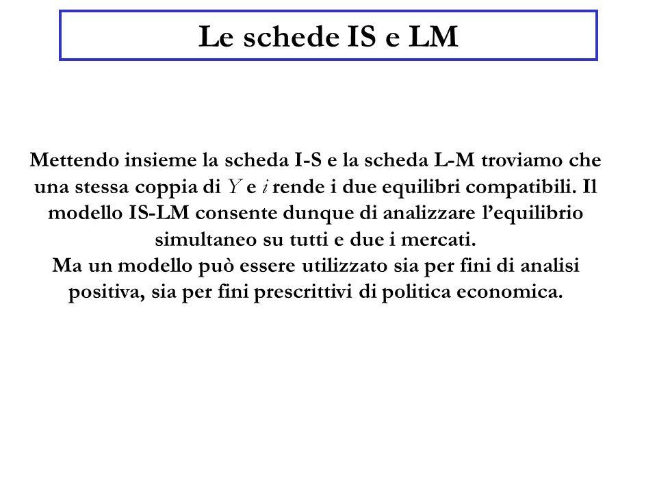 Le schede IS e LM Mettendo insieme la scheda I-S e la scheda L-M troviamo che una stessa coppia di Y e i  rende i due equilibri compatibili.