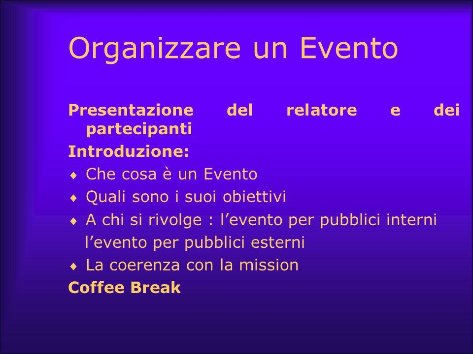Organizzare un Evento Presentazione del relatore e dei partecipanti Introduzione:  Che cosa è un Evento  Quali sono i suoi obiettivi  A chi si rivo