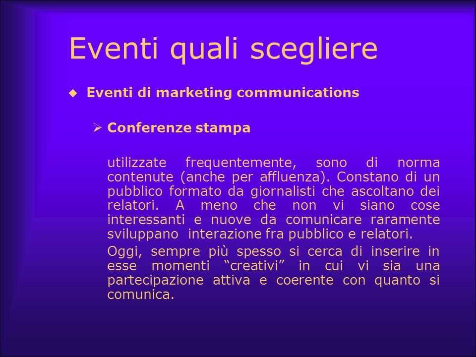 Eventi quali scegliere  Eventi di marketing communications  Conferenze stampa utilizzate frequentemente, sono di norma contenute (anche per affluenz