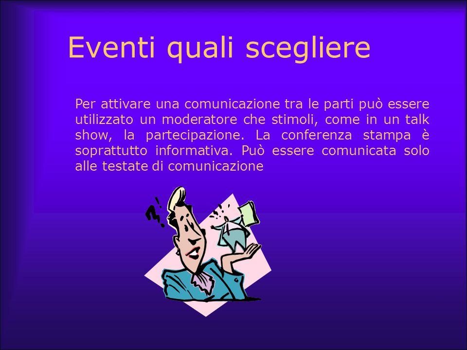 Eventi quali scegliere Per attivare una comunicazione tra le parti può essere utilizzato un moderatore che stimoli, come in un talk show, la partecipa