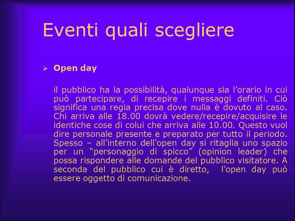 Eventi quali scegliere  Open day il pubblico ha la possibilità, qualunque sia l'orario in cui può partecipare, di recepire i messaggi definiti. Ciò s