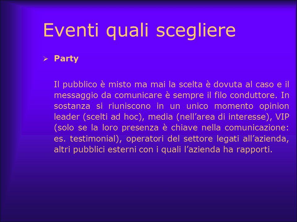 Eventi quali scegliere  Party Il pubblico è misto ma mai la scelta è dovuta al caso e il messaggio da comunicare è sempre il filo conduttore. In sost