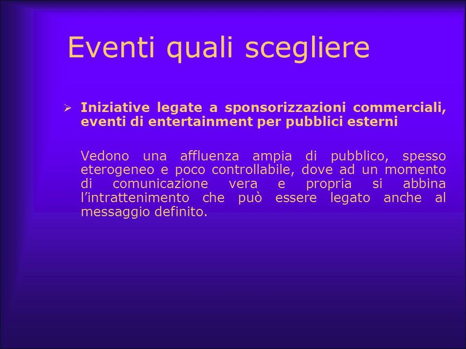 Eventi quali scegliere  Iniziative legate a sponsorizzazioni commerciali, eventi di entertainment per pubblici esterni Vedono una affluenza ampia di