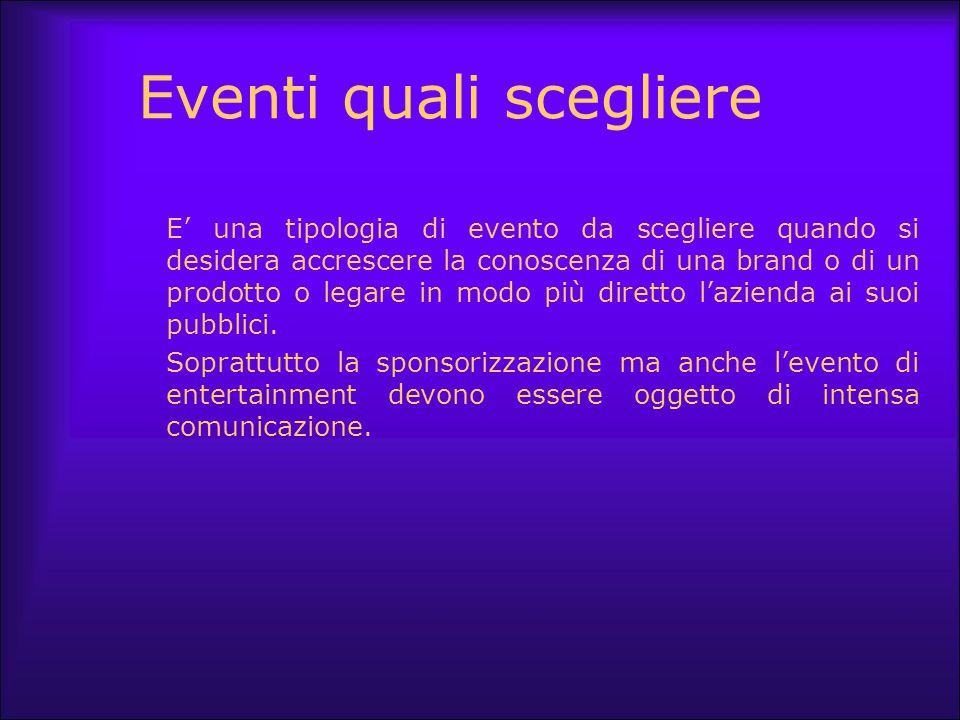 Eventi quali scegliere E' una tipologia di evento da scegliere quando si desidera accrescere la conoscenza di una brand o di un prodotto o legare in m